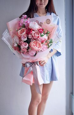 Pink Flower Bouquet, Bouquet Wrap, Gift Bouquet, Spring Bouquet, Pretty Flowers, Silk Flowers, How To Wrap Flowers, Her Hair, Flower Power