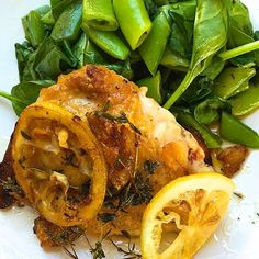 Lemon Garlic Pan-Roasted Chicken Thighs with Spinach and Snap Peas