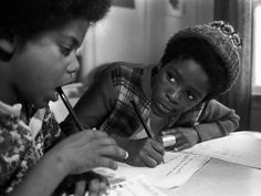 Black Panther children study at the Intercommunal Youth Institute, in Berkeley, Calif., 1972.     In 1970, David Hilliard created the idea for the first full-time liberation day school. This school, and its attendant dormitories in Oakland and Berkeley, was simply called the Children's House. This school concept, directed by Majeda Smith and a team of BPP members, became the way in which sons and daughters of BPP members were educated. Staff and instructors were Black Panther Party members.