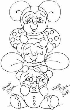 Ginger, abelhinha e joaninha tp Ladybug Coloring Page, Cute Coloring Pages, Doodle Coloring, Disney Coloring Pages, Printable Coloring Pages, Coloring Pages For Kids, Coloring Sheets, Coloring Books, Tole Painting
