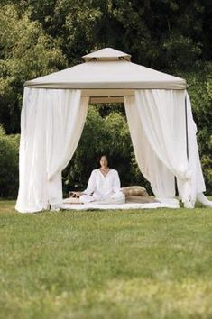 A pop-up gazebo serves as an outdoor living space on call, ready wherever and whenever needed. Adding curtains to the gazebo gives it a light, airy vibe, keeping out insects if the curtains are . Gazebo Curtains, Gazebo Canopy, Backyard Canopy, Garden Canopy, Outdoor Curtains, Canopy Outdoor, Hotel Canopy, Canopies, Backyard Ideas