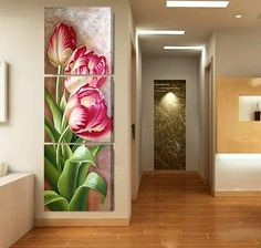 Luxury Hot Sell Modern oil Painting Tulip Flowers Home Wall Art Picture Paint on Canvas Prints Unframed modular paintings originals ca 80 - My site 3 Canvas Paintings, Painting Frames, Canvas Wall Art, Wall Art Prints, Tulip Painting, Modern Oil Painting, Acrylic Painting Techniques, Wall Art Pictures, Mural Art