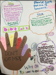 Teaching argument? Decorate your hallway with rhetorical and rhe-TURK-cal triangle arguments.  This one was created by 5th grader Evelyn!  Here's our online lesson: http://corbettharrison.com/free_lessons/RheTURKical-Triangle.htm#contest