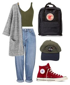 """Untitled #2"" by lizblvck ❤ liked on Polyvore featuring Topshop, Fjällräven and Converse"