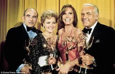 Critically acclaimed: Ed Asner, White, Moore and the late Ted Knight are shown in May 1976 at the Primetime Emmy Awards in Los Angeles