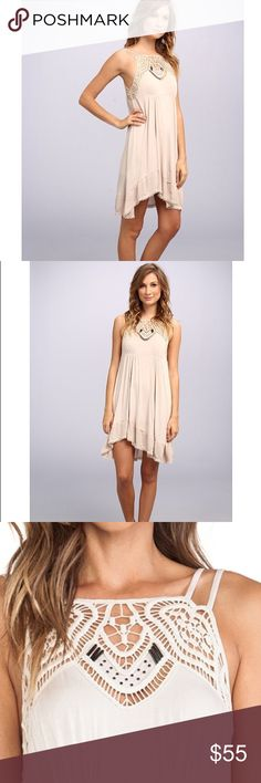 Free People Star Lace Apron Dress Sand color B39 Free People Star Lace Apron Dress Sand Color.  96% rayon 4 % spandex. Lightweight fabric. High-low, great flare, dress is lined. Free People Dresses Midi