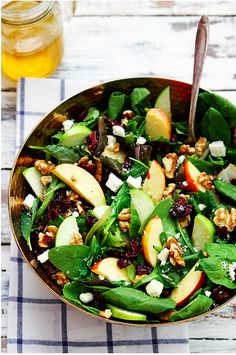 Apple, Cranberry & Walnut Salad with Homemade Vinaigrette