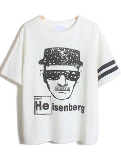 White Short Sleeve Detective Sunglasses Print T-Shirt - Sheinside.com