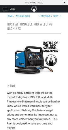 Buying a welding machine for use at home and around the farm can be very valuable. Check out this comparison to get an idea of what welder you want to buy. Mig Welding Tips, Mig Welding Machine, Best Budget, Budgeting, Knowledge, Marketing, Check, Budget Organization, Facts