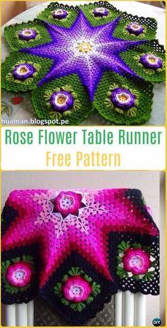 Crochet 3D Rose Flower Table Runner Free Pattern Video- Crochet Table Runner Free Patterns