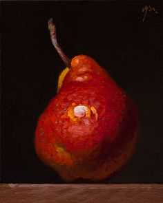 """""""Red Pear"""" oil painting by Abbey Ryan #Realism"""