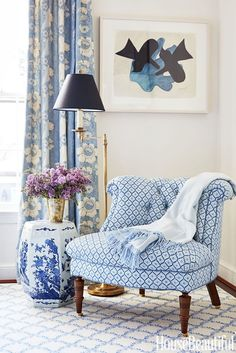 10 Tips How To Build A Lightweight House Decoration Design - European Inspired Design - Our Work Featured in At Home. The Best of home interior in Blue Rooms, White Rooms, Blue White Bedrooms, Bedroom Furniture, Bedroom Decor, Bedroom Chair, Master Bedroom, Furniture Design, Living Room Decor