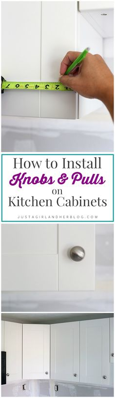 Kitchen Progress and Hardware Installation Easy explanation of how to install knobs & pulls and how to know where to put them! Kitchen Cabinets Knobs And Pulls, Painting Kitchen Cabinets White, Kitchen Cabinet Hardware, White Kitchen Cabinets, Kitchen Cabinetry, Kitchen Paint, Painting Cabinets, New Kitchen, Kitchen Decor