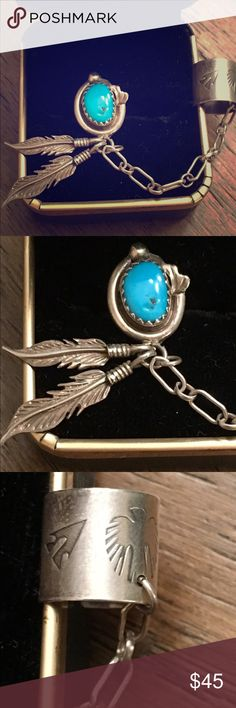 🌻NWOT Authentic Navajo turquoise earring w/cuff BRAND NEW!! Beautiful .925 single turquoise earring with oval radiant blue stone and 2 leaf accent w/chain to cuff. Cuff has Navajo art all of the way around. So many details to make this a ooak piece. Authentic with artist's mark. This is the real deal, purchased in New Mexico. Price is firm! Already losing $ because of 20% deduction. Jewelry Earrings