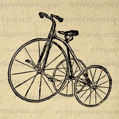 Antique Tricycle Bike Graphic Image Download Bicycle Digital Illustration Printable Artwork Vintage Clip Art 18x18 HQ 300dpi No.1267 @ vintageretroantique.etsy.com