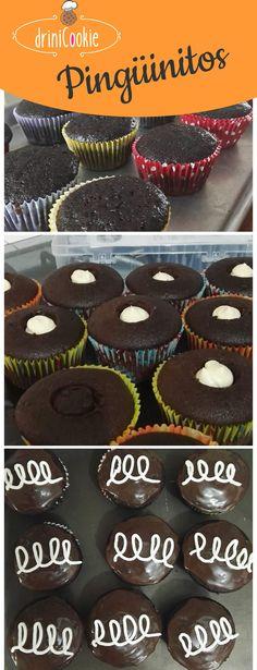 pingüinitos Cupcake de chocolate rellenos de buttercream de vainilla y cubiertos de ganache de chocolate