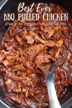 Delicious, low stress and easy to make, this recipe makes the best BBQ Pulled Chicken. #BBQPulledChickenCrockpot #BBQPulledChicken #SlowCookerBBQPulledChicken #CrockPotBBQChickenBreast #BBQChickenCrockpotEasy #PulledBBQChickenCrockPot Easy Bbq Chicken, Shredded Bbq Chicken, Pulled Chicken, Best Chicken Recipes, Meat Recipes, Real Food Recipes, Homemade Hamburgers, Homemade Bbq, Chicken Avocado Sandwich