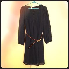 Navy Dress with belt Worn once to a wedding! Perfect condition, size medium. Elastic cuffs, flowy with belt for a more fitted look. Can wear with or without belt. Color is navy. Worn in the fall with knee high boots. Xhilaration Dresses