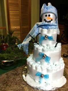 Diaper Cake Snowman