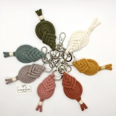 Diy Crafts Love, Overhand Knot, Modern Crochet, Macrame Cord, Yarn Shop, T Shirt Yarn, Key Rings, Upcycle, Crochet Necklace