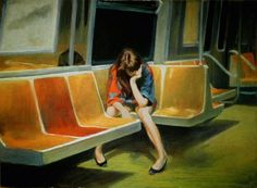 Nigel Van Wieck First Floor Escape Q Train Days Chase Watch True it makes you think of Edward Hopper, but subject is equal to style and he seems to envision century solitude. Kunst Online, S Bahn, Art Graphique, Loneliness, Oeuvre D'art, Art History, Les Oeuvres, Painting & Drawing, Woman Painting