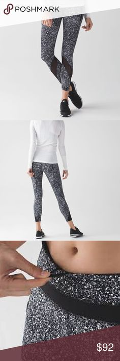 Lululemon Inspire Tight II - Splatter black - NWT! Lululemon Inspire II Tight  leggings in splatter white/black. Brand new with tags!! 7/8-length hits above ankle. Cool-to-the-touch Luxtreme fabric is four-way stretch and sweat-wicking. LYCRA fibre for shape retention. Mesh fabric panels for extra ventilation. Got these as a gift but missed the return/exchange window to get them in my size. Selling on here so I can purchase another pair! Super cute!! Smoke-free home 😊 lululemon athletica…