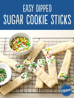 These easy sugar cookie sticks dipped into candy coating are sure to become a holiday favorite. Holiday Cookies, Holiday Treats, Holiday Recipes, Winter Treats, Holiday Desserts, Christmas Sweets, Christmas Goodies, Christmas Baking, Cookie Desserts