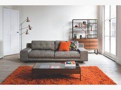 HENDRICKS Black and white fabric 3 seater sofa-Habitat