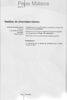 ARCHIVO DE RECETAS THERMOMIX: NATILLAS DE CHOCOLATE BLANCO