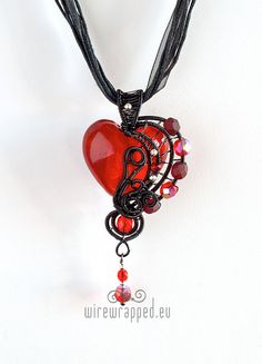 OOAK Red goth wire wrapped heart pendant on Etsy, $71.17