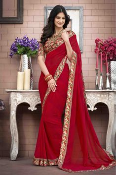 This Super Stylish Georgette,Satin Fabric Saree Is Exclusively Crafted With Printed Work. The Red Colour Saree Comes With Matching Blouse Fabric of meters. This Saree Can Be Worn On Casual Wear O. Georgette Sarees, Lehenga Choli, Anarkali, Sari, Silk Sarees, Trendy Sarees, Stylish Sarees, Red Chiffon, Chiffon Fabric