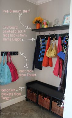 """Kitchen """"Mud Room"""" Nook Makeover ~ Mom's Crafty Space - Fox Home Design Style Deco, Decoration Design, Getting Organized, Mudroom, Home Organization, Home Projects, Nooks, Sweet Home, New Homes"""