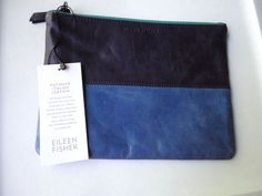 55.88$  Buy here - http://vixpo.justgood.pw/vig/item.php?t=knky9t39484 - Eileen Fisher Italian Leather Zip Pouch Clutch Patinaed Colorblock Blue NWT