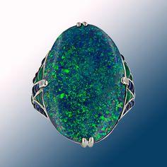 Large Black Opal Art Deco Style Platinum, Diamond, Sapphire and Emerald Ring
