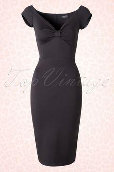 50s Isadora Pencil Dress in Black
