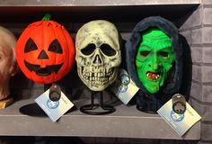 Original 1982 Halloween III masks by Don Post Studios with original Shamrock and hangtags. On display in The Crimson Ghost Mask Room.