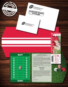 Our deluxe football themed wedding invitations, custom designed by our graphics department with a wedding ticket invitation and perforated RSVP stub - #footballwedding #stwdotcom