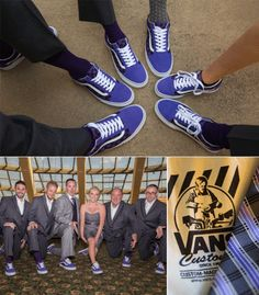 These bright purple vans make for a fun and comfortable shoe for the groomeside and bride! #shoes #wedding #groomsmen #love #happily