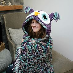 Hooded owl blanket folds into a pillow. $$ pattern. So cute.