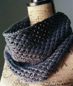 Free Knitting Pattern for 4 Row Repeat Irish Mesh Cowl - Easy cowl with 4 row repeat mesh sections separated by a knit section. Quick knit in bulky yarn. Designed by Linda Thach who provides video tutorials.