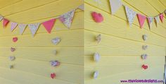 Guirnaldas de corazones y Guirnalda de banderines combinadas. myvioletdesigns.com