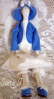 """ΥΠΕΡΟΧΕΣ ΔΗΜΙΟΥΡΓΙΕΣ: Кукла в стиле тильда """"Леди в небесно-голубом"""""""
