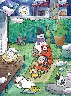 merry christmas - neko atsume cats