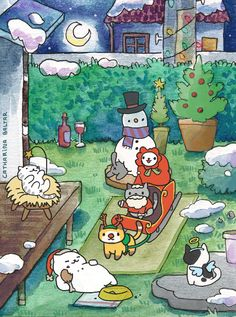 ~ Merry Neko Atsume Christmas ~ Catharina Baltar http://www.catharinix.tumblr.com