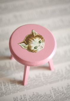 Cute!  The Kitty Pink Blythe Chair  Candy Pink Kitty by UtterMabness, $17.00