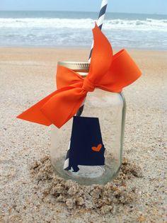 Auburn Tigers Alabama State Silhouette Personalized Mason Jar Cup w/ Straw via Etsy