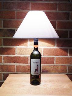 Upcycled Wine Bottle Table Lamp Table Lamps, A Table, Brass Lamp, Light Bulb, Wine, Lighting, Bottle, Home Decor, Bulb Lights