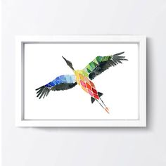 Flying home art print Stork migration print by TheJoyofColor