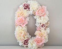 Floral Letter Nursery Letter Flower Letter by BegoniaRoseCo Gold Nursery Decor, Chic Nursery, Floral Nursery, Flower Letters, Flower Wall, Nude Pink, Nursery Letters, Nursery Monogram, Diy Letters