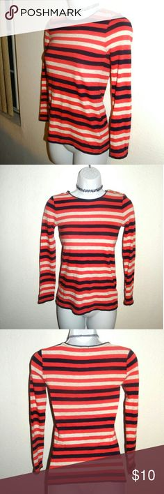 J. Crew Pink Blue Striped Top This item is used but in good condition. J Crew Pink Blue Striped Top in woman's size xxsmall. It has three gold colored buttons on shoulder that can unfasten.  It's comfy and stretchy.  This can also fit a size small. Please note: there is a small hole on the neck collar from tag but everything else is good. See photos. J. Crew Tops
